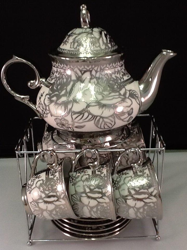 13pc Chinese Tea Sets - Tea Pot & 6 Cups & Saucers w Rack.Si