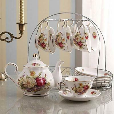15 Piece Ceramic Tea Set Metal White