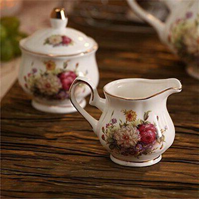 ufengke 15 Piece European Ceramic Tea Sets,China Set with Metal W