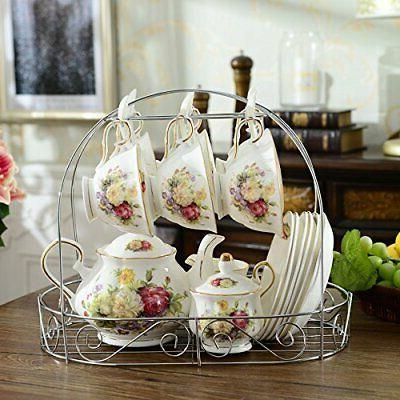 15 European Tea Sets Set with White