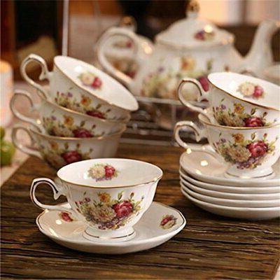 Tea Sets China Coffee Set with Metal White