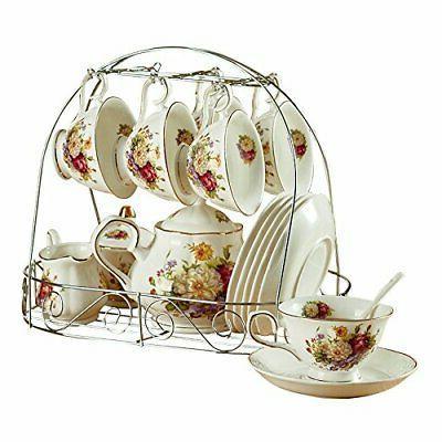 ufengke Ceramic Tea Coffee Set with W