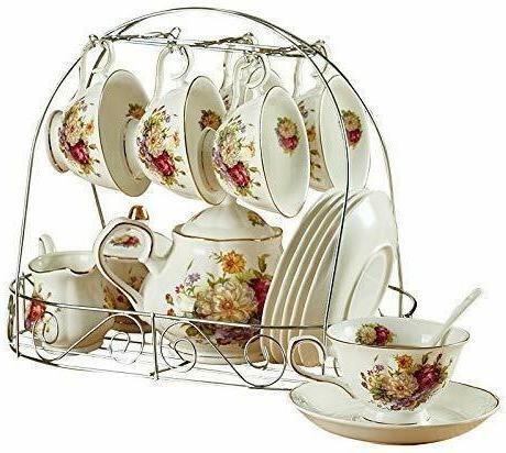 15 Piece Ceramic Tea Set with Metal Holder
