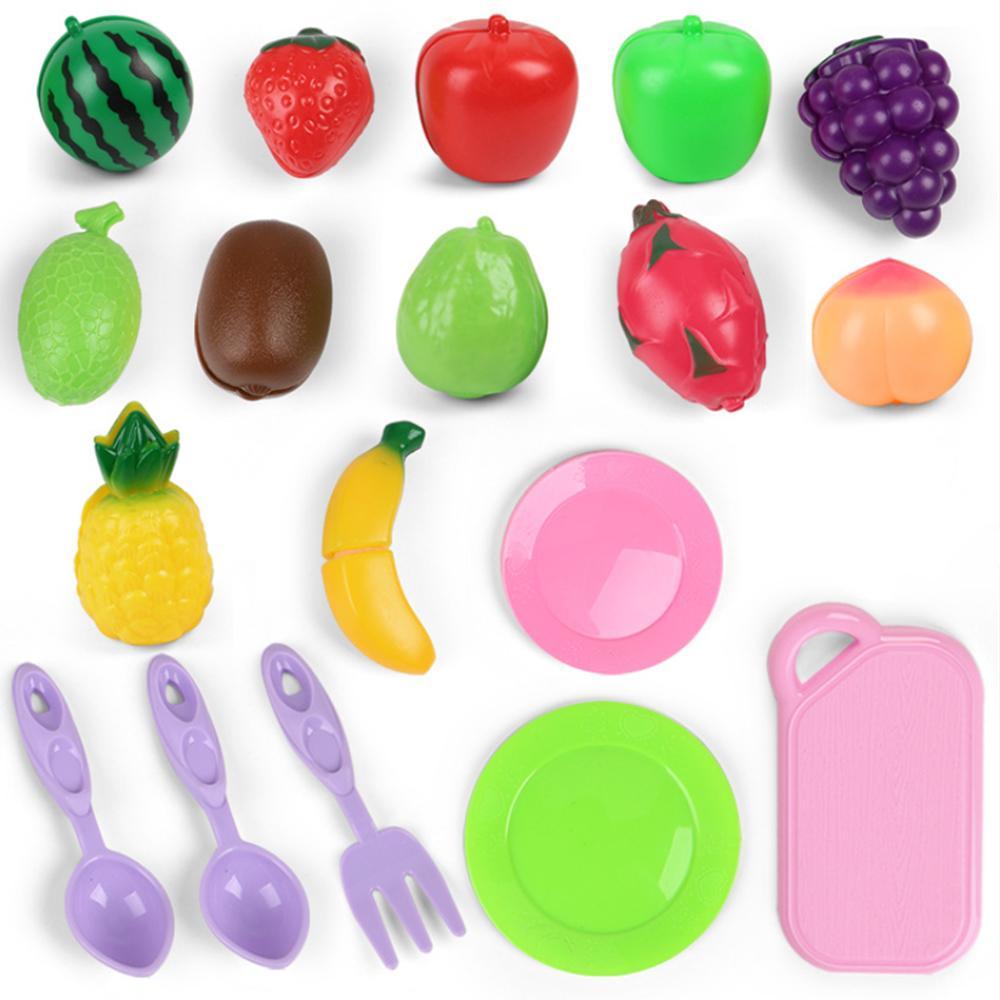 19Pcs Safe <font><b>Children</b></font> Play House Toy Plastic Food Fruit Kids Pretend Toys