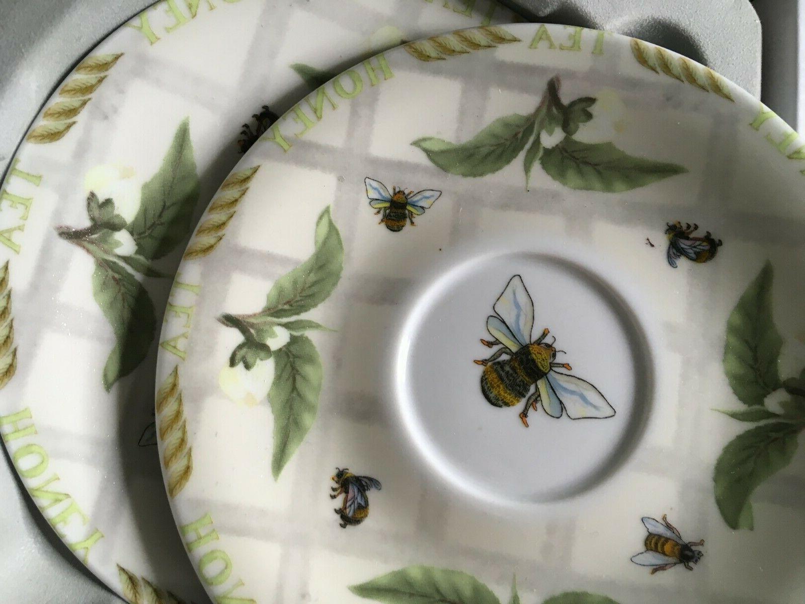 Cardew Design 2 Flat Cups & Saucer & Bee- - New