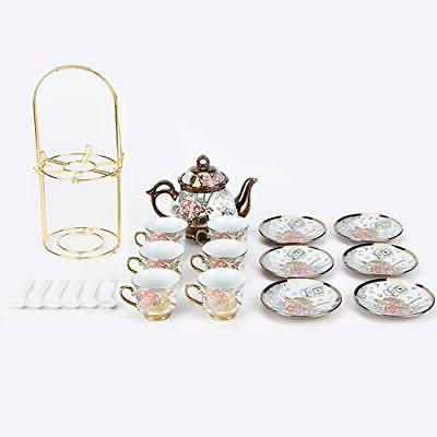 20 Tea Set SetWith Metal Holder,flower