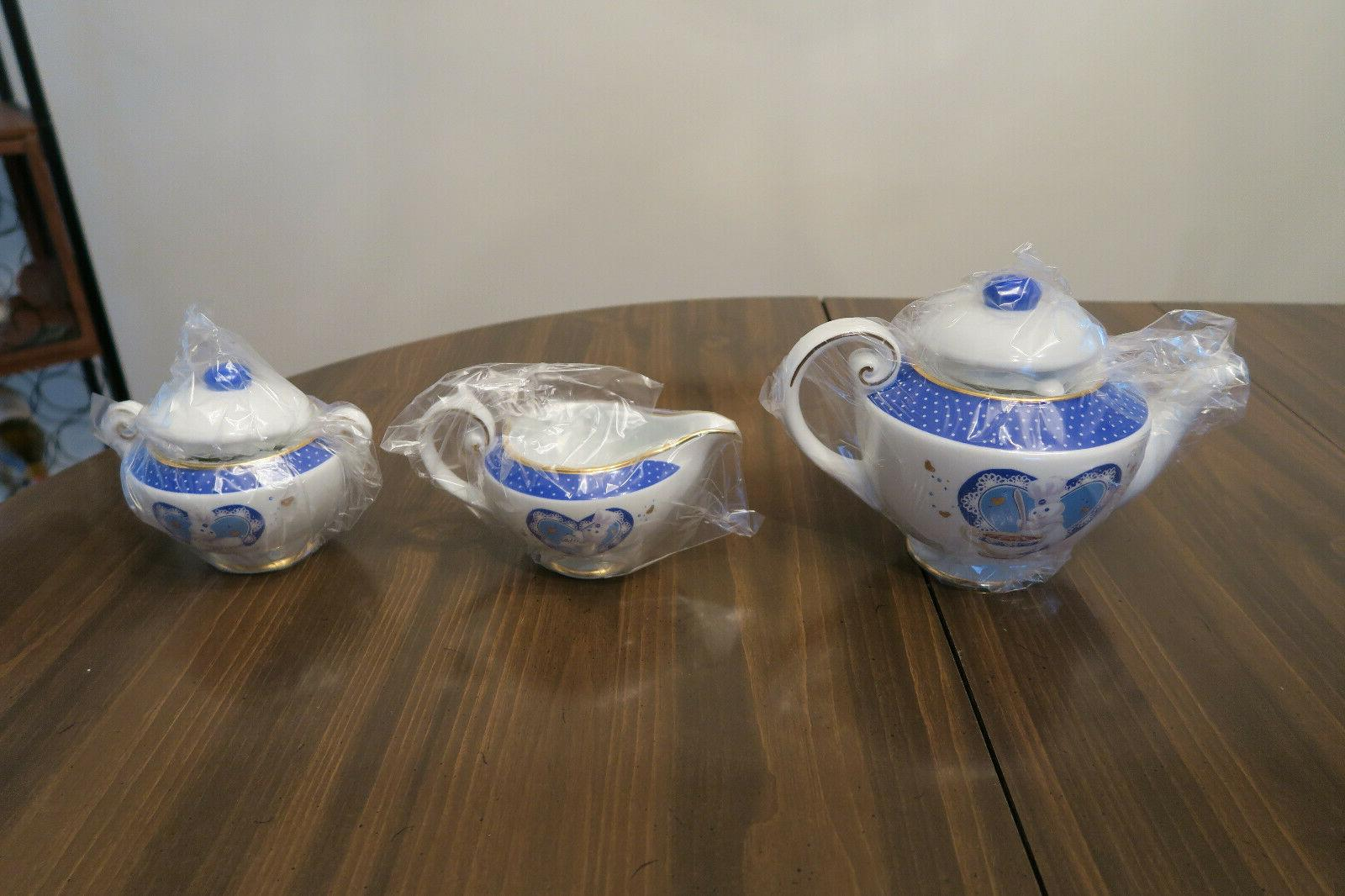 2003 Danbury Mint Pillsbury Doughboy Teapot Tea Set 5pc Porc