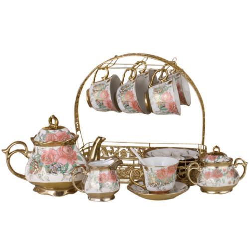 22pcs Royal Tea Household Ceramic Pot Cup&Saucer Sugar Milk Tank