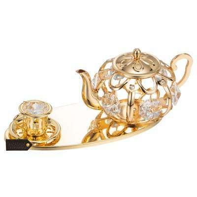 24K Gold Plated Tea Set Ornament Made with Genuine Crystals