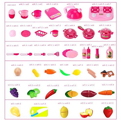 42 Piece Set Girls Vegetable Tea Toy for Age Development Educational Play Food Assortment