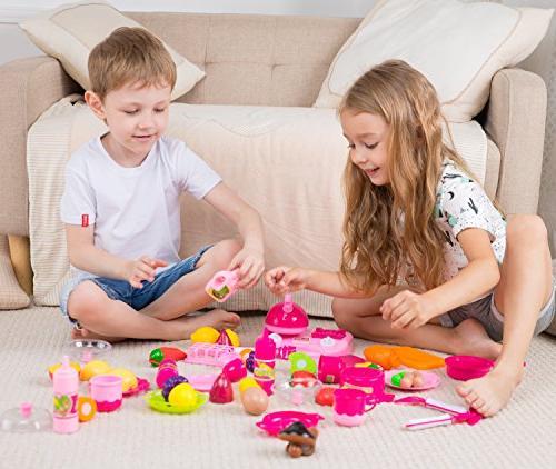 42 Piece Set Girls Boys Vegetable Tea Playset Toy for Kids Development Food Assortment Set