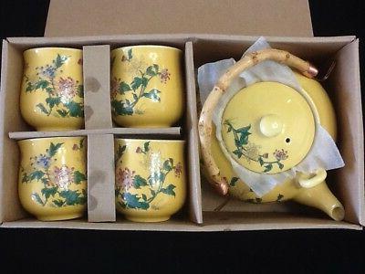 5 piece Japanese Tea Set Pot Cups Lid Handle Chinese Asian B
