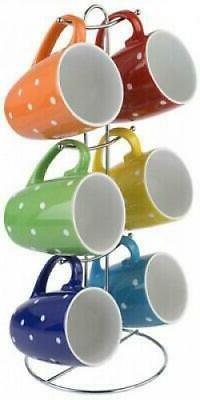 Mug Set 6-Piece Stoneware Coffee Tea Cup Assorted Polka Dots