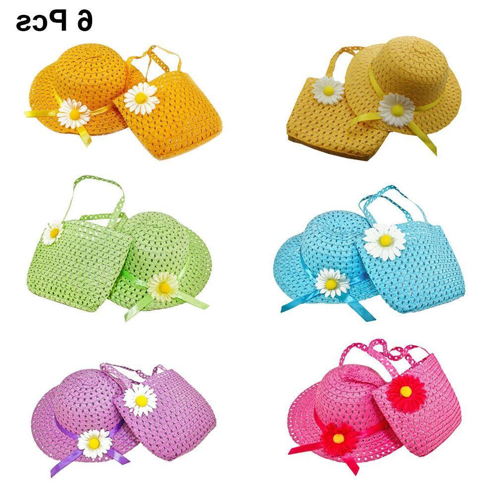 6 Sets Girls Tea Party Hats Sunflower Bonnet for Birthday Pl