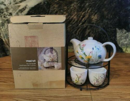 PIER 1 pc Floral Teapot 4 Stand
