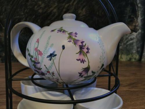 PIER 1 pc Set Teapot 4 Stand