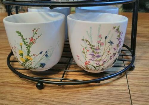 PIER pc Tea Floral Teapot 4 Metal Stand