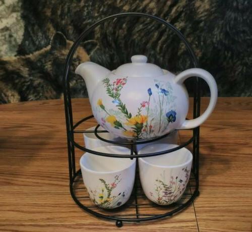 7 pc tea set floral teapot 4
