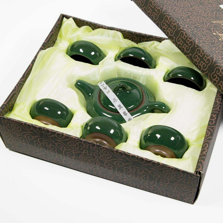 7 Piece Chinese Tea Set Fu Porcelain Cups