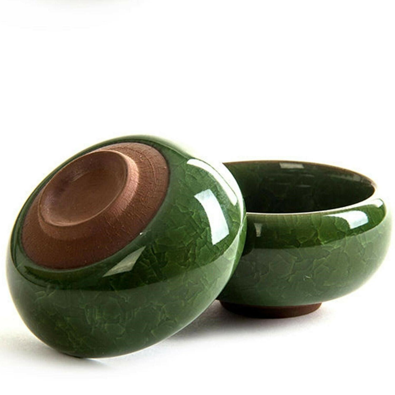 7 Piece Set Kung Porcelain Tea Cups Dark Green