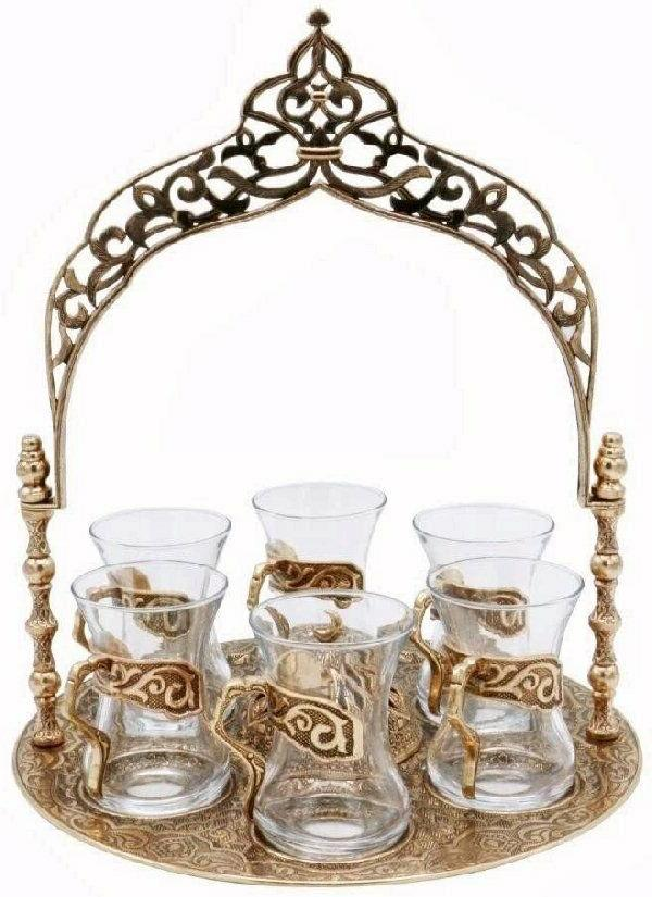 8 Piece Traditional Turkish Style Tea Serving Set w/ Arched
