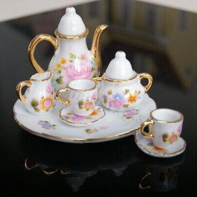 8pcs 1/6 Dollhouse Miniature Dining Cup Plate Rose
