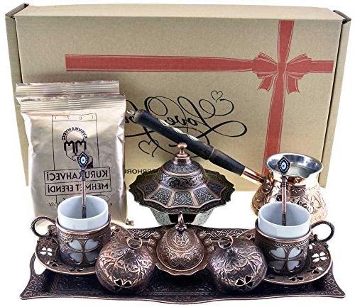 BOSPHORUS 16 Pieces Turkish Greek Arabic Coffee Making Servi