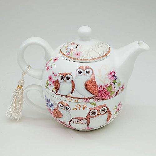 Bits Tea For One Porcelain Teapot and Cup - Adorable
