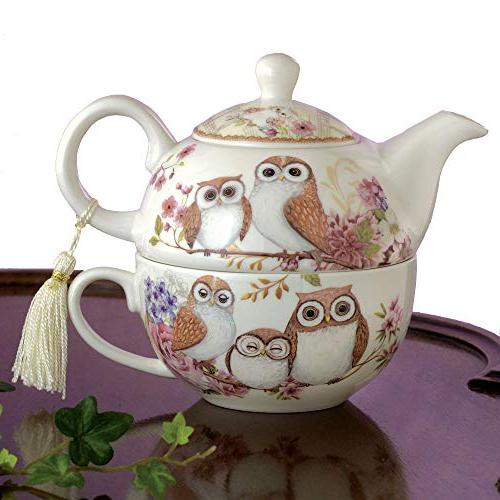 Bits and Pieces - Tea For One Owls Porcelain Teapot and Cup