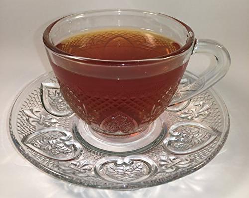 Cup & Saucer Glass Tea Coffee Glass Saucer 12 Cup Saucer Set