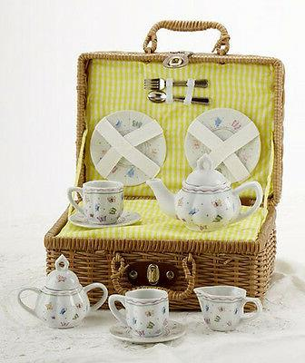 Delton Products Butterfly Porcelain Tea Set in a Basket for