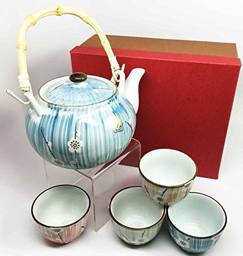 Ebros Japanese Four Cherry Blossom Tea Pot and Decor Living