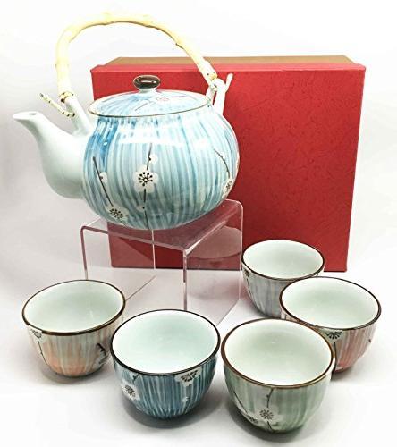 Ebros Gift Design Four White Cherry Blossom Tea and 5 Decor Asian