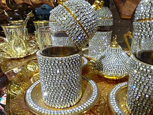 Handmade Copper Turkish Coffee Espresso Tea Set Swarovski Cr