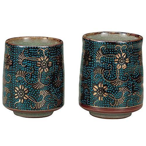 Kutani set teacup blue grain iron Sen