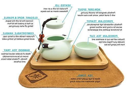 OMyTea Set Chinese / Japanese Vintage Kungfu Teacups Bamboo Tray & Tea with Portable Travel Bag