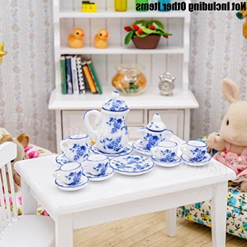 Odoria 1:12 Blue Porcelain Set Chintz Kitchen