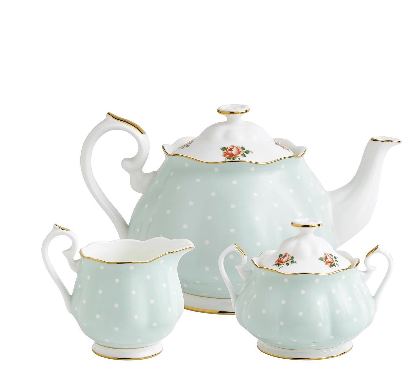 Royal Albert China Polka Rose 3 Pc Teaset - Teapot, Sugar, C