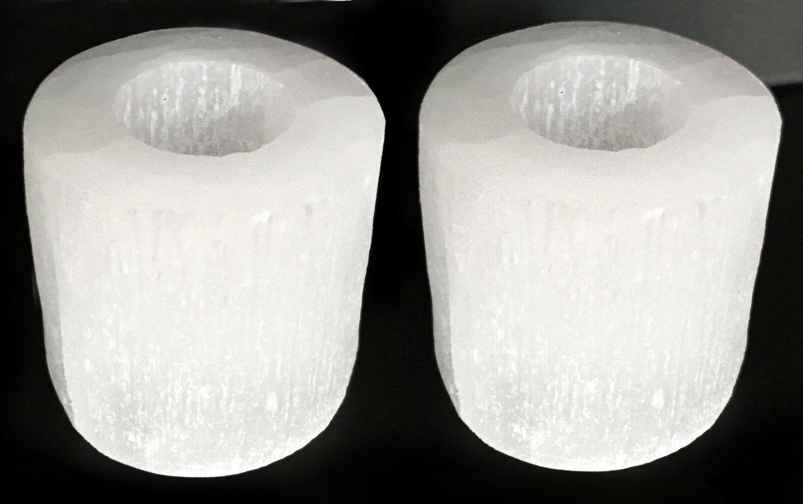 Selenite Crystal Candle Holder SET of 2 HANDMADE 3 Candle Te