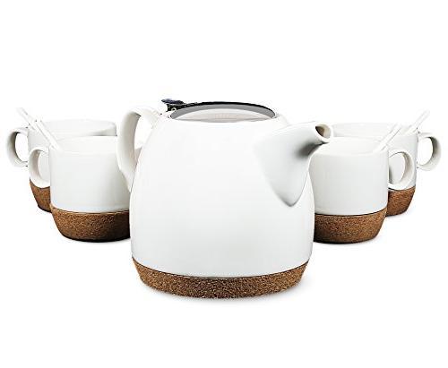 Tea Branch - Hailey Ceramic Tea Set For 4, Modern Teapot 22