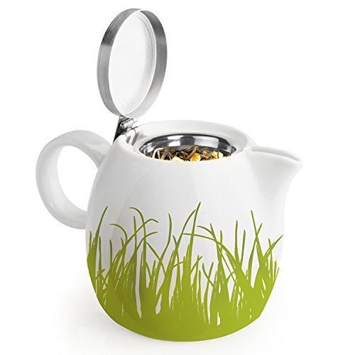 Tea 24oz Ceramic Teapot Stainless Tea Leaf Tea Steeping Two, Spring Grass