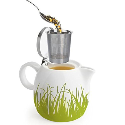 Tea Ceramic Teapot with Improved Stainless Leaf Tea Two,