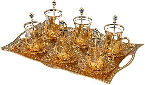 Turkish Tea Set for 6 - Glasses with Brass Holders Lids Sauc