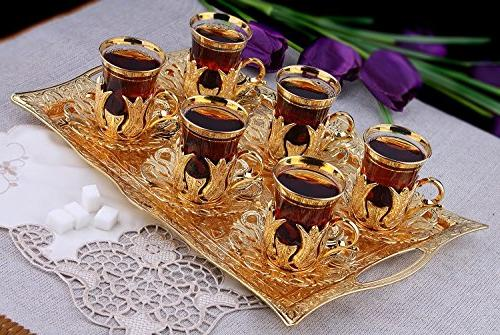 Turkish for 6 with Brass Holders Tray Glass Pcs