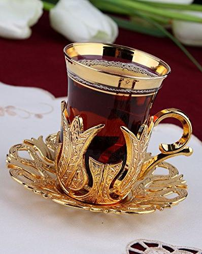 Turkish Set for 6 - Brass Holders Lids Saucers Tray Glass