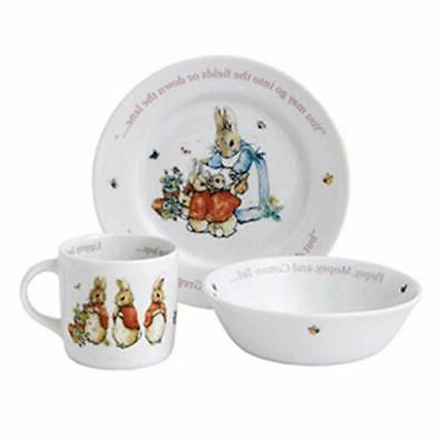 Wedgwood Girl's Peter Rabbit 3-Piece Plate, Bowl and Mug Set