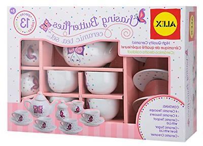 Alex Chasing Butterflies Ceramic Kids Tea Set, 13 Piece