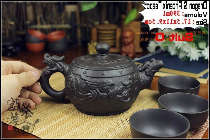 Authentic Fu <font><b>Set</b></font> Dragon Teapots Handmade Porcelain
