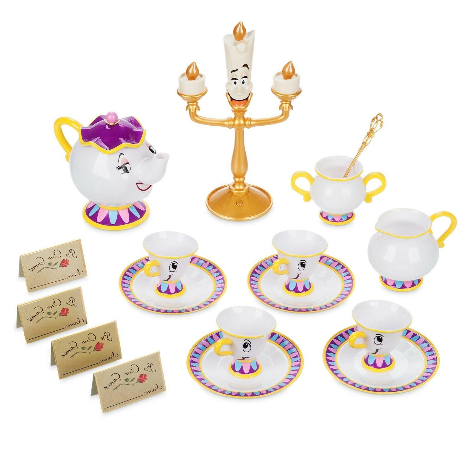 Disney Store Beauty and Guest'' Singing Cart Play Set