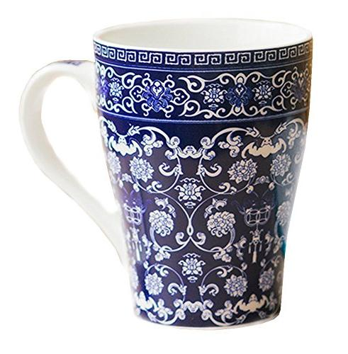 blue white porcelain coffee mug